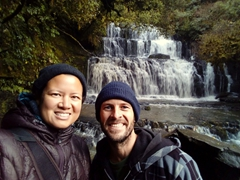 Striking a pose at Purakaunui Falls, the most photographed waterfall in NZ; Catlins Forest Park