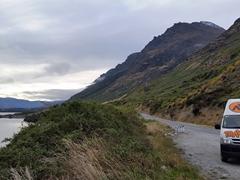 Stopping on Kingston Road overlooking Lake Wakatipu
