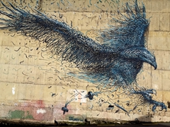 Giant eagle vs Becky, painted by Chinese-born street artist DALeast; Dunedin