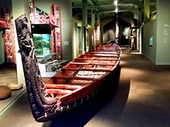 Carved canoe; Otago Museum