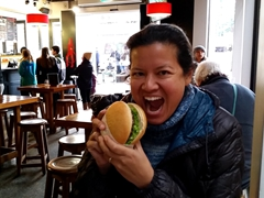 Becky about to chomp down on her blue devil burger; Queenstown