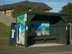 One of dozens of painted bus stops on Brighton Road