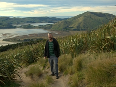 Robby enjoying the stunning views of Otago Peninsula