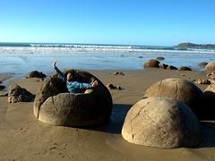 Robby swallowed by a human eating rock; Moeraki Boulders