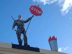 Steampunk stop sign; Oamaru