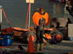Costumed contestant for the Mitre 10 Mega Raft Race; Queenstown Winter Fest