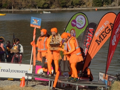 Go Orange is the victorious team in the raft race; Queenstown Winter Festival