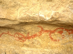 Maori rock painting, Takiroa Rock Art Site; Duntroon