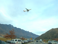 A plane takes off from Queenstown airport