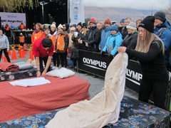 Bed making contestants compete during the Queenstown Resort College Hospitality Race; Winter Festival