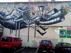 Street artist Phlegm's Song Bird Pipe Organ; Dunedinn