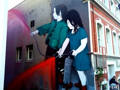 "Girls spraying by artist ""Be Free""; Dunedin"
