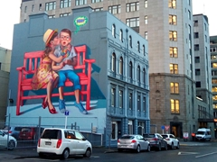 """Love is in the Air"" street art by Polish artist Natalia Rak; Dunedin"