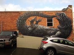 Tuatara mural painted by Belgian artist ROA; Dunedin