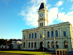 Historic Waitaki District Council building (formerly the Post Office in 1883) and war memorial; Oamaru