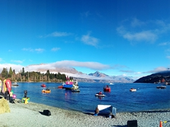 Its a brilliant day for the water activities taking place at Lake Wakatipu; Queenstown Winter Fest