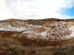 Panorama of our winter hike around St Bathans Lake