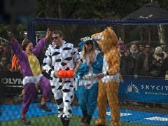 Contestants having fun during the dodgeball championship; Queenstown Winter Fest