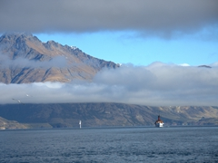 Vintage steamship, TSS Earnslaw, cruising  Lake Wakatipu