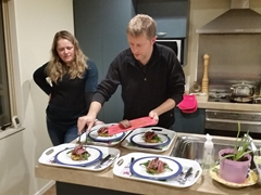 Damien and Anna preparing dinner at their home in Christchurch