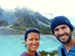 Rewarded by icebergs at the end of the Hooker Valley track!