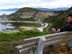 Becky stopping to admire the view on our Kaikoura peninsula hike, a 12km loop