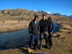 Robby, Damien and Anna smile on our Mt Sunday track hike