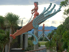 Maori traditional wooden sculpture, Kaikoura Peninsula Walkway