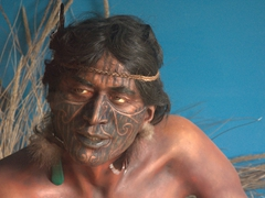 Traditional Maori face tattoo on display at Okains Bay Maori Museum
