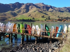 Colorful boats in Purau Bay