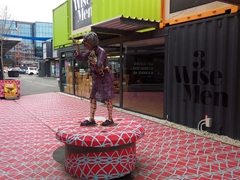 Sculpture made from  recycled roofing, tin and steel; Christchurch Container Mall