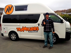 Robby flashing the thumbs up after we picked up our new home for 3 months from Travellers Autobarn; Christchurch