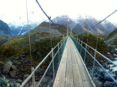 Crossing one of 3 swing bridges on the Hooker Valley track