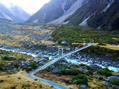 Crossing the last swing bridge before returning back to the parking lot; Hooker Valley track