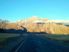 Driving to the Blue Lakes; Mt Cook National Park
