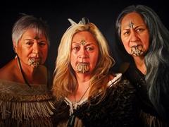 Portrait of 3 Maori sisters; Aigantighe Art Gallery in Timaru