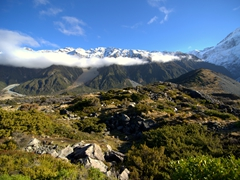 Scenery on our Hooker Valley track hike, the most popular track at the Aoraki/Mount Cook National Park