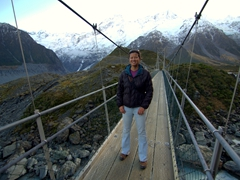 Becky on a swing bridge; Hooker Valley track