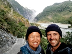 Selfie on our hike to Franz Josef Glacier