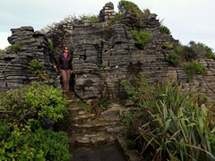 Becky at Punakaiki pancake rocks