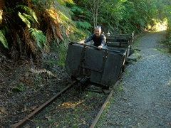 Robby in an old mining cart; Charming Creek