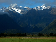 View of Mt Tasman and Mt Cook, the two highest mountains of New Zealand