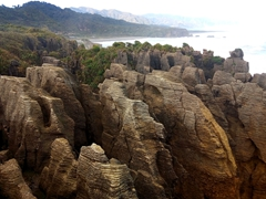 Punakaiki pancake rocks were formed 30 million years ago. They are limestone formations made from dead marine creatures sandwiched by layers of mud and clay