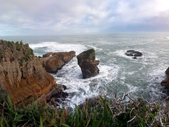 Panorama of Punakaiki pancake rocks
