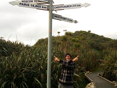 Robby by the signpost on the Cape Foulwind walk
