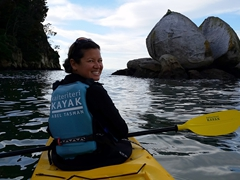 Kayaking to Split Apple Rock, the most photographed rock formation in Abel Tasman National Park