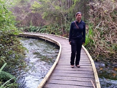Becky on the walkway to Te Waikoropupu Springs
