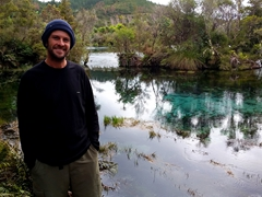 Robby beside Te Waikoropupu Springs, the largest freshwater springs in the southern hemisphere