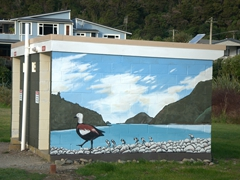 Mural on a public toilet enroute to Elaine Bay Campsite