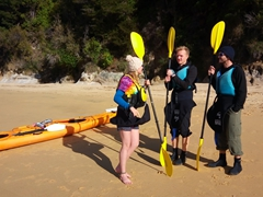 Meg, Noah and Robby get ready to kayak again; Abel Tasman National Park